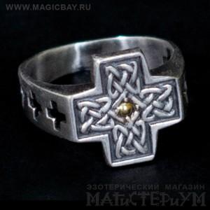 """Серебряное кольцо с золотом """"Кельтский крест"""". Автор - Northern silver"""